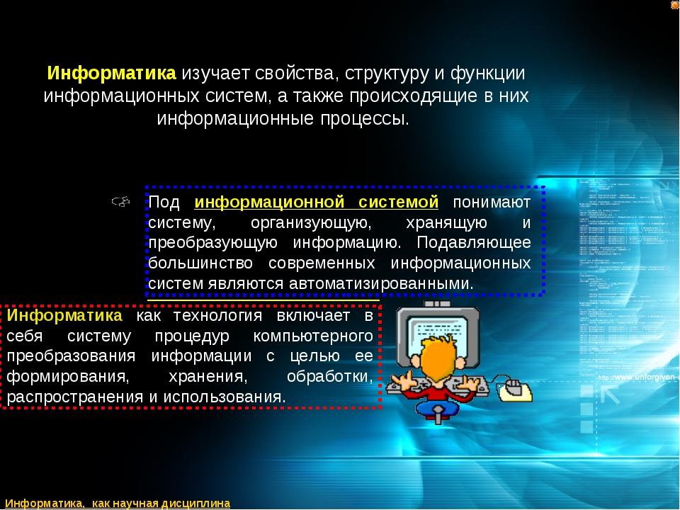 Информатика изучает свойства, структуру и функции информационных систем, а та...