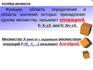 Алгебра множеств Функции, область определения и область значения которых прин