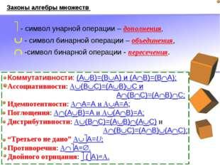 Законы алгебры множеств Коммутативности: (AB)=(BA) и (AB)=(BA); Ассоциати