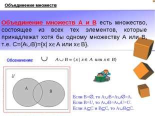 Объединение множеств А и В есть множество, состоящее из всех тех элементов, к