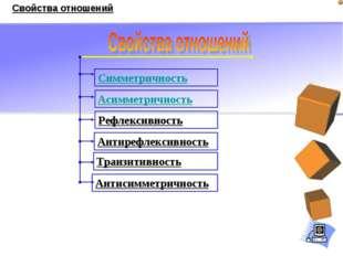 Симметричность Антисимметричность Асимметричность Транзитивность Антирефлекси