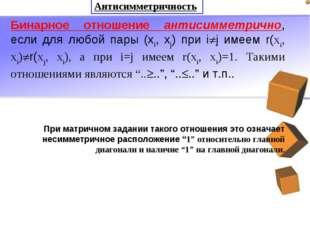 Антисимметричность Бинарное отношение антисимметрично, если для любой пары (x