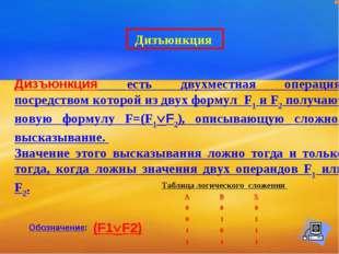 Дизъюнкция есть двухместная операция, посредством которой из двух формул F1 и