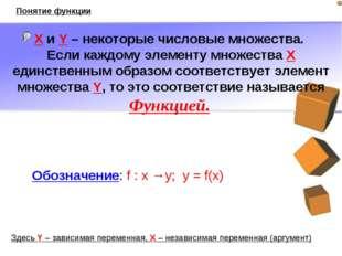 X и Y – некоторые числовые множества. Если каждому элементу множества X единс
