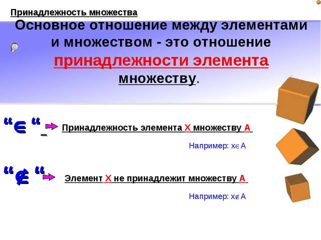 """"""""""" """""""" Например: xA Например: хA Принадлежность элемента X множеству A При..."""