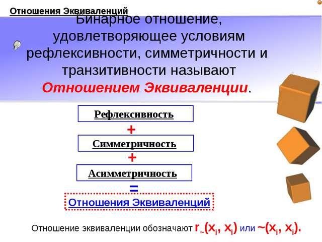 Бинарное отношение, удовлетворяющее условиям рефлексивности, симметричности и...