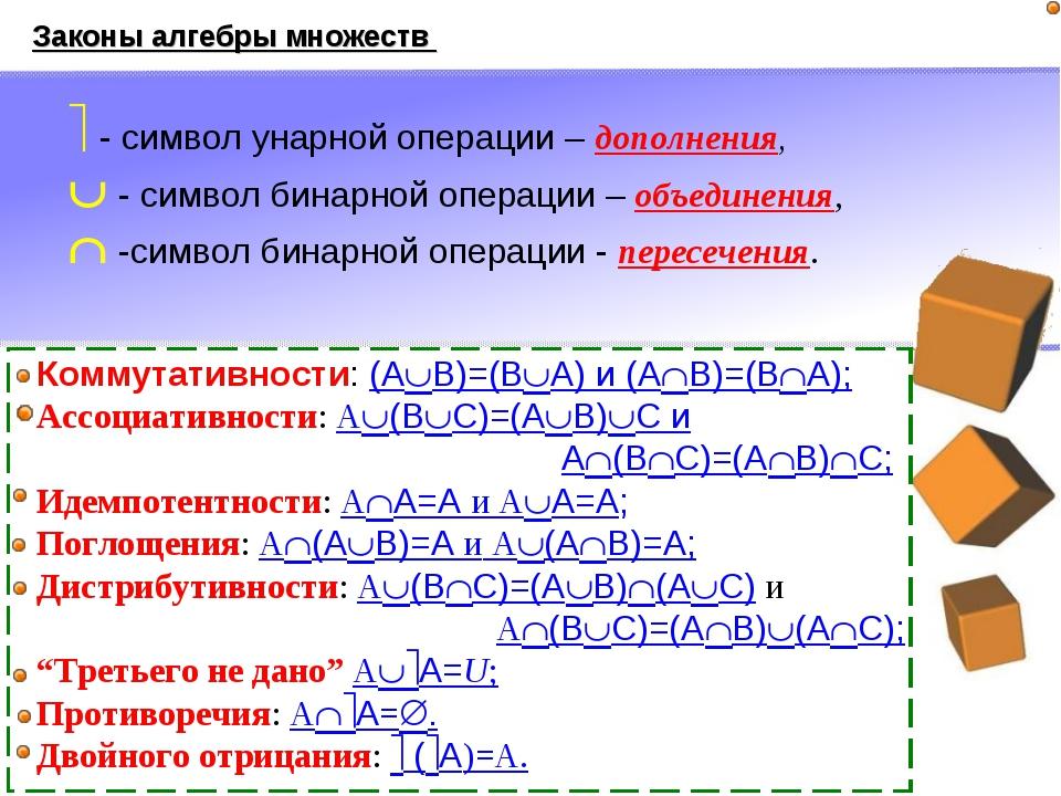 Законы алгебры множеств Коммутативности: (AB)=(BA) и (AB)=(BA); Ассоциати...