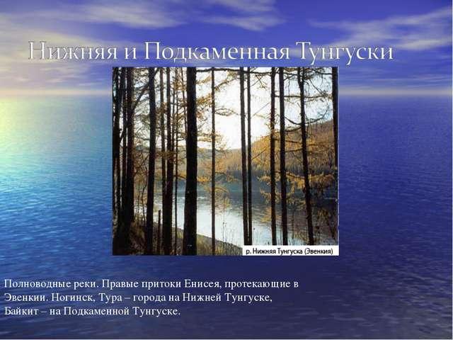 Полноводные реки. Правые притоки Енисея, протекающие в Эвенкии. Ногинск, Тура...
