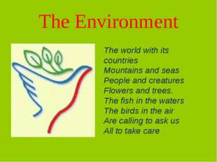 The Environment The world with its countries Mountains and seas People and cr