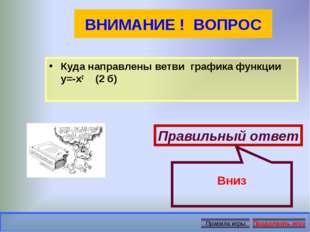 ВНИМАНИЕ ! ВОПРОС Куда направлены ветви графика функции у=-х2 (2 б) Правильны