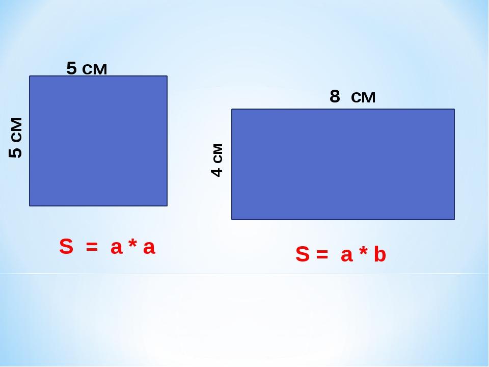 5 см 5 см 4 см 8 см S = a * a S = a * b