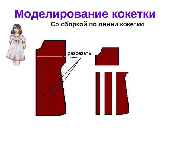 Моделирование кокетки Со сборкой по линии кокетки разрезать