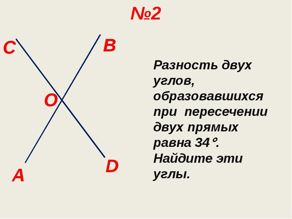 B C A №2 O Разность двух углов, образовавшихся при пересечении двух прямых ра...