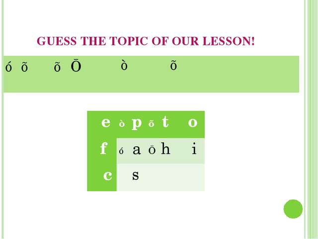 GUESS THE TOPIC OF OUR LESSON! ☼	♥		♥	■	♪		♠	⨳	⩙	♥		⨳	⩫	⩫	∷	≋	♪...