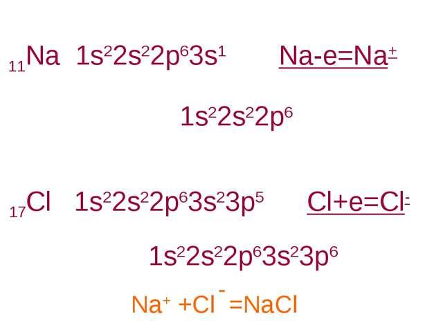 11Na 1s22s22p63s1 17Cl 1s22s22p63s23p5 1s22s22p6 1s22s22p63s23p6 Na-e=Na+ Cl+...