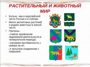 РАСТИТЕЛЬНЫЙ И ЖИВОТНЫЙ МИР Богаче, чем в европейской части России и в Сибири