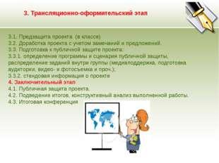 3. Трансляционно-оформительский этап 3.1. Предзащита проекта (в классе) 3.2.