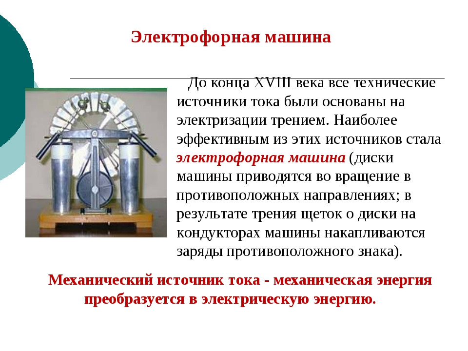Электрофорная машина До конца XVIII века все технические источники тока были...