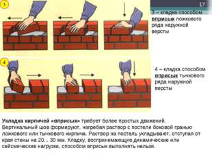 3 3 – кладка способом вприсык ложкового ряда наружной версты 4 – кладка спосо