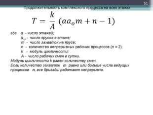 * Продолжительность комплексного процесса на всех этажах где - число этажей;