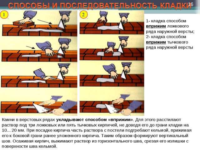 2 1- кладка способом вприжим ложкового ряда наружной версты; 2- кладка способ...