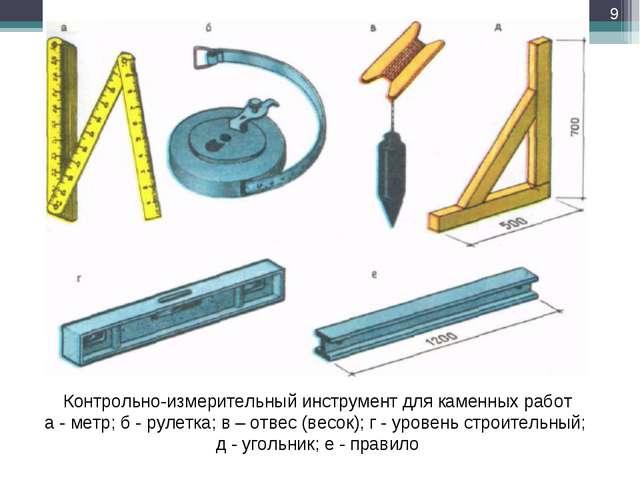 Контрольно-измерительный инструмент для каменных работ а - метр; б - рулетка;...