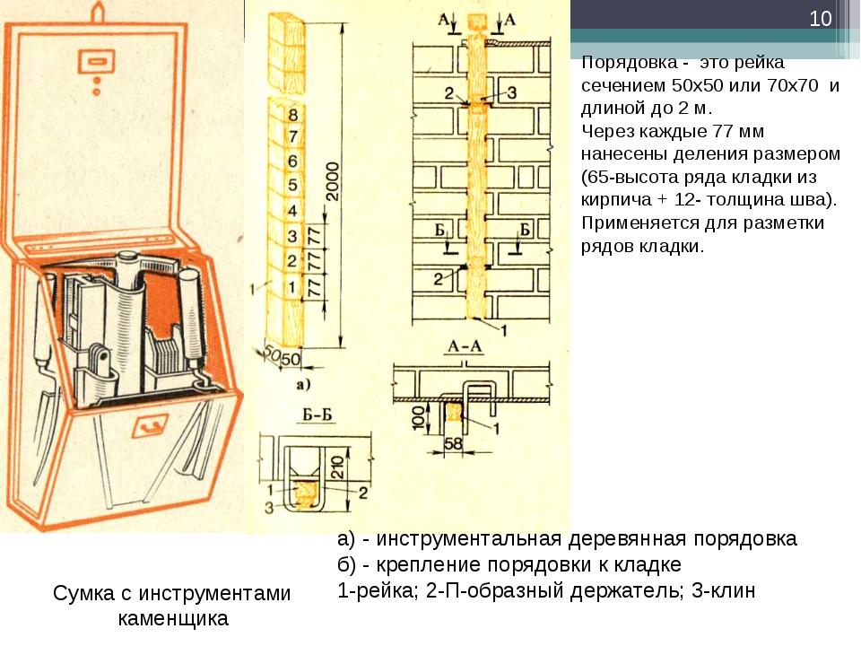 Сумка с инструментами каменщика а) - инструментальная деревянная порядовка б)...