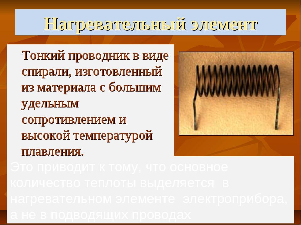 Нагревательный элемент Тонкий проводник в виде спирали, изготовленный из мате...