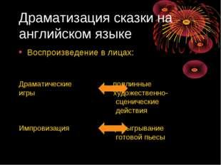 Драматизация сказки на английском языке Воспроизведение в лицах: Драматически