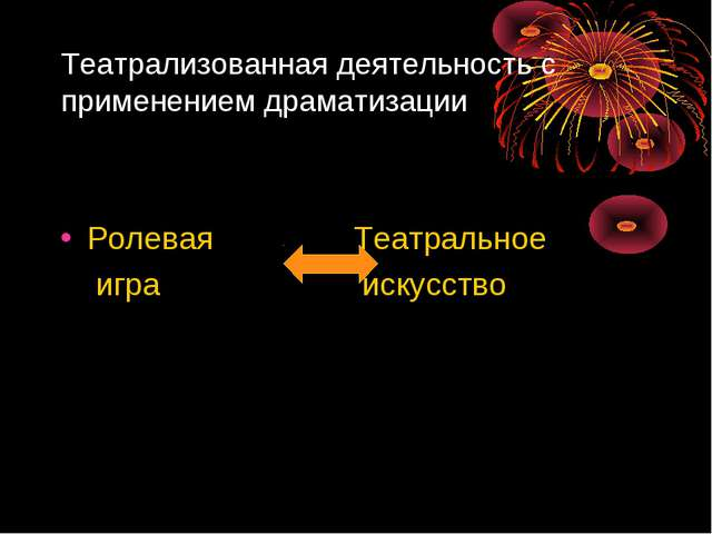 Театрализованная деятельность с применением драматизации Ролевая Театральное...