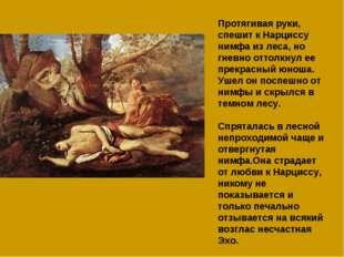 Протягивая руки, спешит к Нарциссу нимфа из леса, но гневно оттолкнул ее прек