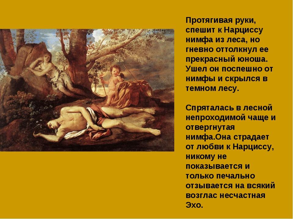 Протягивая руки, спешит к Нарциссу нимфа из леса, но гневно оттолкнул ее прек...