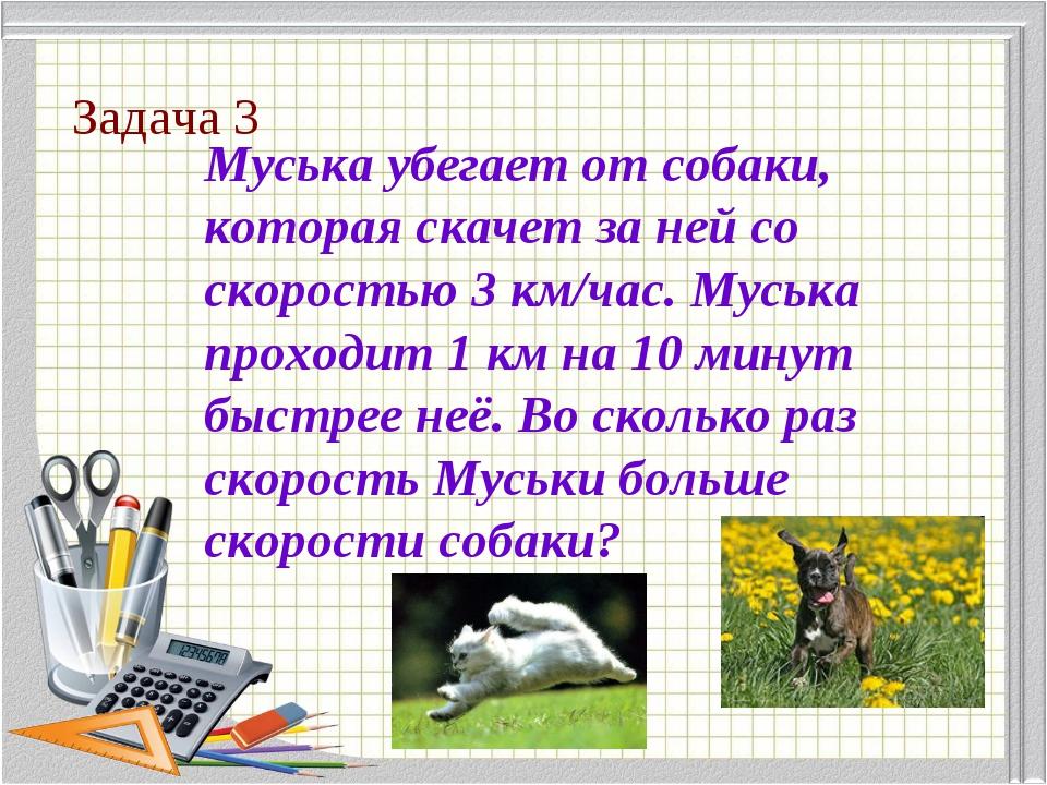 Задача 3 Муська убегает от собаки, которая скачет за ней со скоростью 3 км/ча...