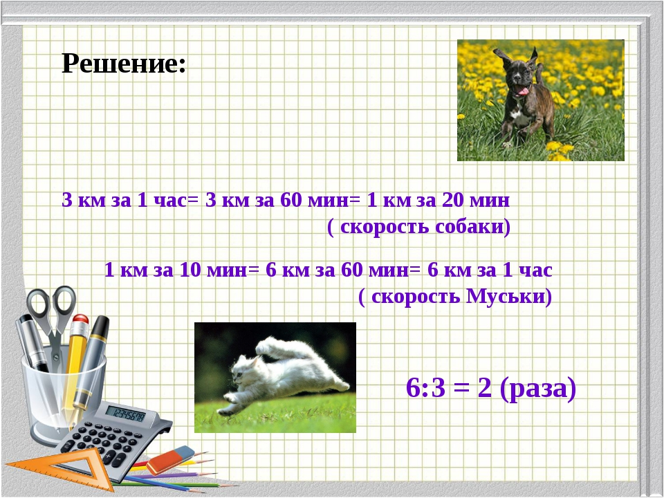 Решение: 3 км за 1 час= 3 км за 60 мин= 1 км за 20 мин ( скорость собаки) 1 к...