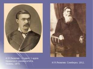 И.Я.Яковлев - студент 1 курса Казанского университета. Казань, 1870. И.Я.Яков