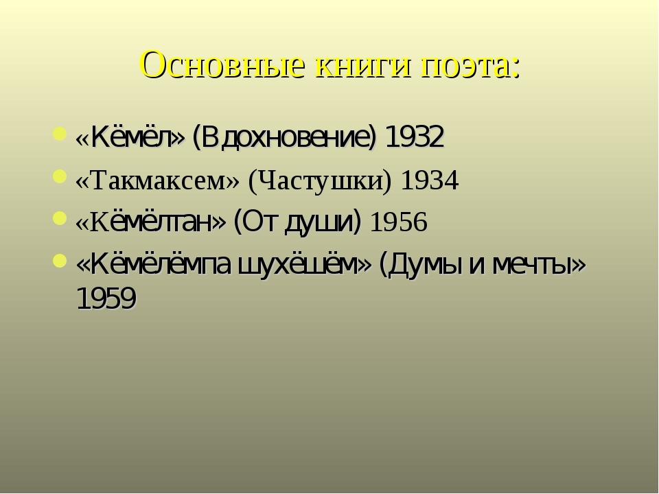 Основные книги поэта: «Кёмёл» (Вдохновение) 1932 «Такмаксем» (Частушки) 1934...