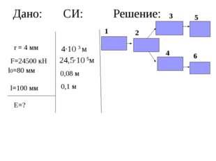 Дано: СИ: Решение: r = 4 мм F=24500 кН l0=80 мм l=100 мм Е=? 4·10 3 м 24,5·10