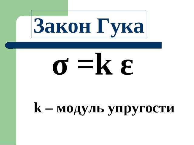 σ =k ε Закон Гука k – модуль упругости