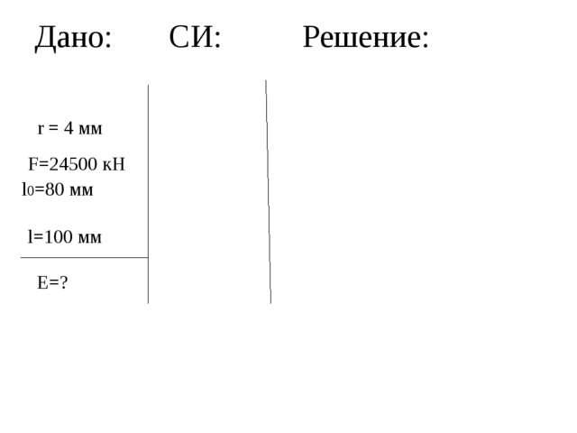 Дано: СИ: Решение: r = 4 мм F=24500 кН l0=80 мм l=100 мм Е=?