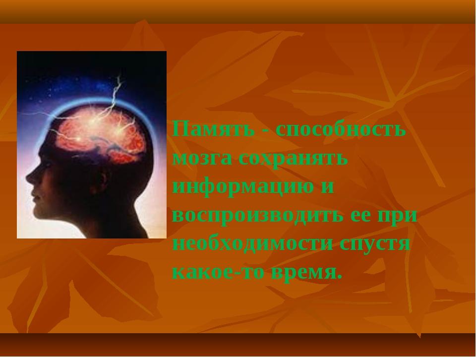 Память - способность мозга сохранять информацию и воспроизводить ее при необ...