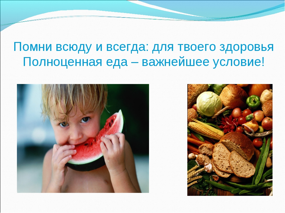 Помни всюду и всегда: для твоего здоровья Полноценная еда – важнейшее условие!