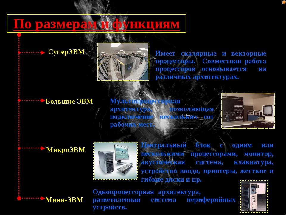 По размерам и функциям СуперЭВМ Имеет скалярные и векторные процессоры. Совме...