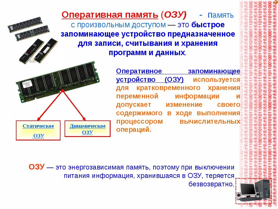 Оперативная память (ОЗУ) - память с произвольным доступом — это быстрое запом...