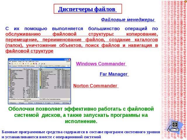 Диспетчеры файлов Файловые менеджеры Базовые программные средства содержатся...