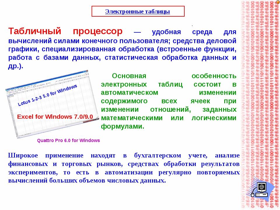Электронные таблицы Табличный процессор — удобная среда для вычислений силами...
