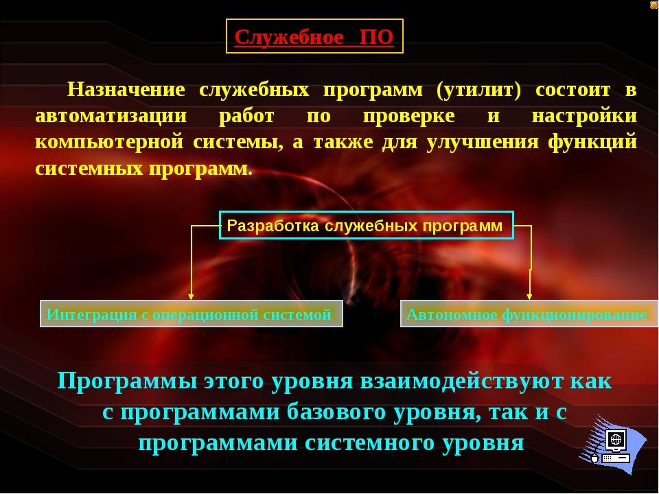 Служебное ПО Назначение служебных программ (утилит) состоит в автоматизации р...