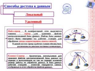 Способы доступа к данным Локальный Удаленный Файл-сервер - В компьютерной сет