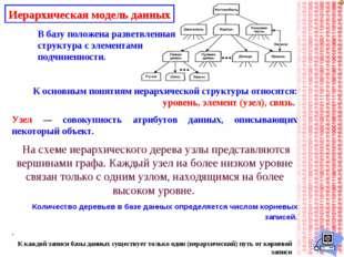 Иерархическая модель данных В базу положена разветвленная структура с элемент