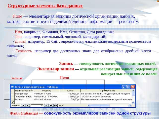 Структурные элементы базы данных Поле — элементарная единица логической орган...