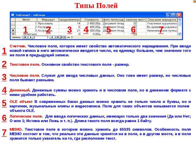 Текстовое поле. Основное свойство текстового поля - размер. Числовое поле. Сл...